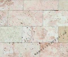Травертин бежево-розовый полоса